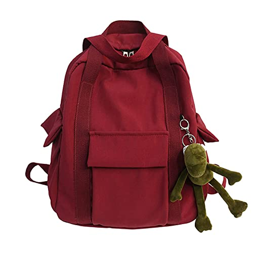 Estudiantes Color sólido Impermeable Nylon Mochila bolso de mano Simple School Book Bag Shoulder Travel Casual Bag Mochila para adolescentes College Kids Mochila (rojo)