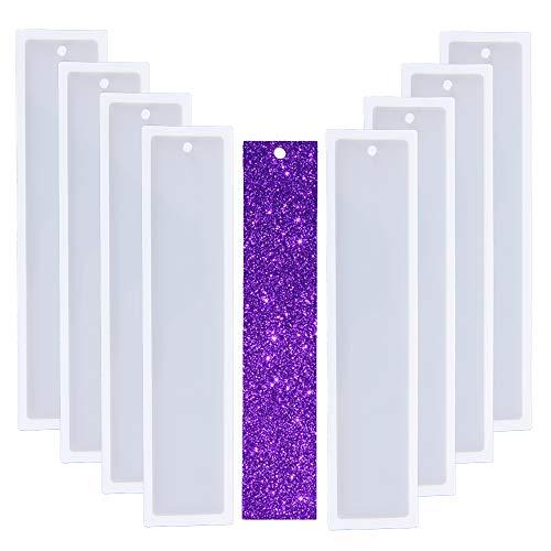 Nifocc - Molde de silicona para marcapáginas y marcapáginas de resina transparente para manualidades (8 unidades)