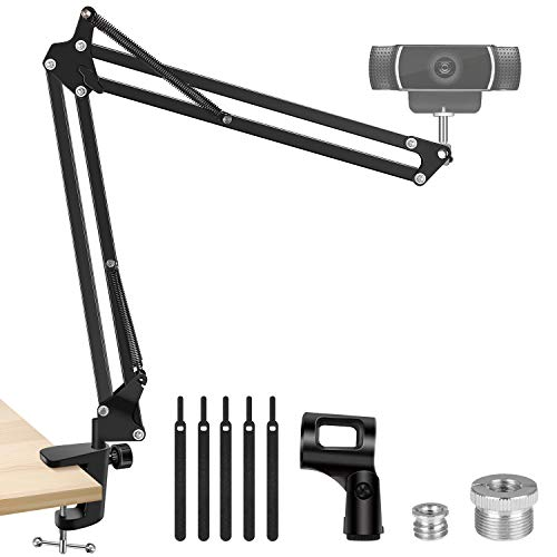 "InnoGear Webcam Stand, Suspension Boom Scissor Arm Stand for Logitech Webcam BRIO C920 C920S C922 C922x C925e C930 C930e, 1/4""-3/8"" and 3/8""-5/8"" Screw for Blue Yeti Snowball Yeti Nano and Other Mics"