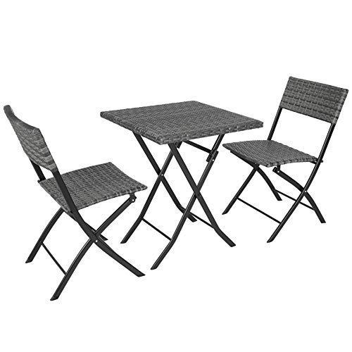 TecTake Salon de Jardin en Résine Tressée 2 Personnes 2 Chaises et 1 Table Pliantes Extérieur Intérieur Résistant aux UV Pliable