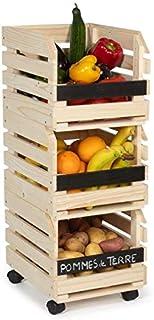 IDMarket - Lot de 3 clayettes en bois empilables pour fruits et légumes
