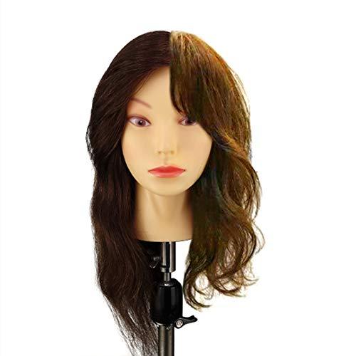 WANGXNCase Cabeza de maniqu de 18 Pulgadas, Cabeza de Entrenamiento de peluquera Profesional para Novia con Soporte, Cabeza de mueca de cosmetologa para peinar, Trenza, Rizo, prctica