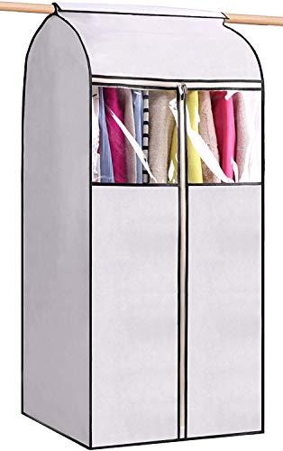 MISSLO - Funda para colgar ropa de 54 pulgadas para guardar ropa bien sellada, bolsa de polvo con ventana grande transparente y apertura de 3 cremalleras para guardarropa, color blanco (sin marco)