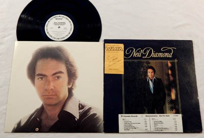 """Neil Diamond LP I'm Glad You're Here With Me Tonight - Columbia Records 1977 - Near Mint Vinyl - Radio Station Demo Promo w/White Labels, Time Strip, Gold Stamp - """"You Don't Bring Me Flowers"""""""