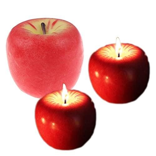 Tiantian, 3 confezioni da 3 candele profumate a forma di mela di simulazione di frutta, candele di San Valentino, feste di compleanno, Natale, vigilia di nozze, decorazioni per frutta, S-M