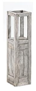 Strandgut07 Teakholz Windlicht mit Säule recycelt finish, grau, ca. 60 cm hoch