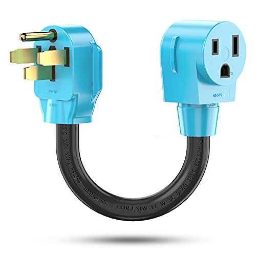 CircleCord Welder Adapter Cord, NEMA 14-50P Male to 6-50R Female, 50 Amp Power Adapter Plug for Welder, Heavy Duty STW 8 AWG 50 Amp 250V