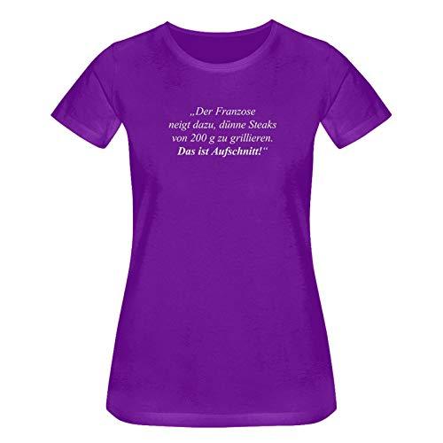 T-Shirt Das ist Aufschnitt Grillen Spruch Zitat Humor Fun 15 Farben Damen XS-3XL feiern Comedy Parodie BBQ Geschenk, Größe:S, Farbe:lila/Purple - Logo Weiss