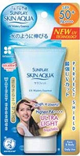 SUNPLAY Skin Aqua UV Watery Essence SPF50 PA++++ 50g-Bevat Vitamine C om te vechten tegen donkere vlekken voor een zichtbaar eerlijke en stralende huid