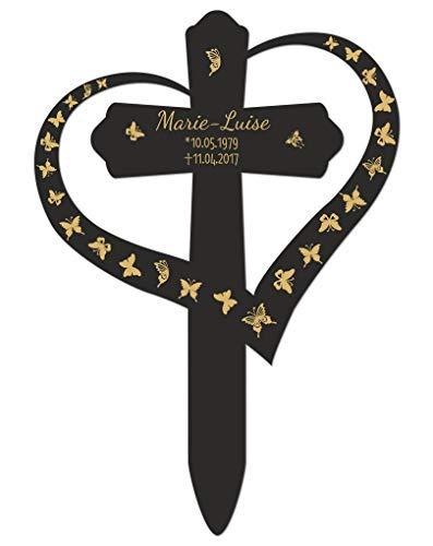Livingstyle & Wanddesign Personalisiertes Grabkreuz mit Herz, Schmetterlinge 1 in Schwarz, mittel 40 x 28 cm