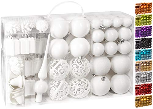 BRUBAKER 101-piezas de Bolas de Navidad con Copas de árboles Blancas