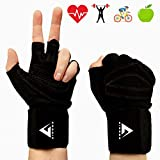 Aireez 2 in 1 Fitness Handschuhe, Trainingshandschuhe, Sporthandschuhe & Handgelenk Bandagen für...