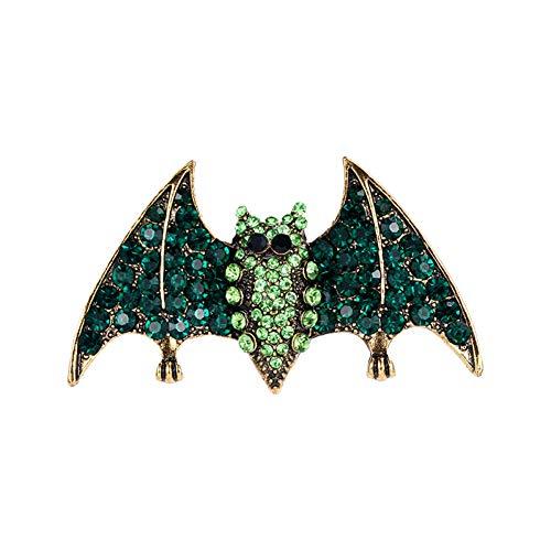 WANGKEAI Moda Verde Cristal Rhinestone Murciélago Broches para Hombres Y Mujeres Trajes...