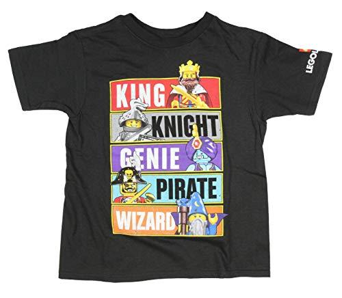 LEGO Little Boys' Legoland Distressed Knight Genie Pirate Wizard Toy Figure T-Shirt (4) Black