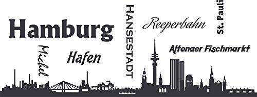 GRAZDesign Wandtattoo Skyline Hamburg - Walltattoo Wohnzimmer Flur Büro Hafen Altonaer Fischmarkt - Wanddeko Norden / 105x40cm / 073 dunkelgrau