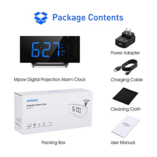 Mpow [GEN-3] Projection Alarm Clock, Curved-Screen Projection Clocks with 5'' Dimmer LED Display, Digital Clock for Bedroom, Dual Alarms with 30 Minute Ring Time, 12/24 Hour, Backup for Clock Setting