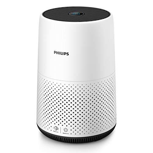 Philips Qualità Aria AC0820/10 Purificazione Automatica Intelligente, Rimuove Allergeni e Particelle Sottili, Dimensioni Compatte, Rileva la Qualità, Silenzioso, Bianco/Nero