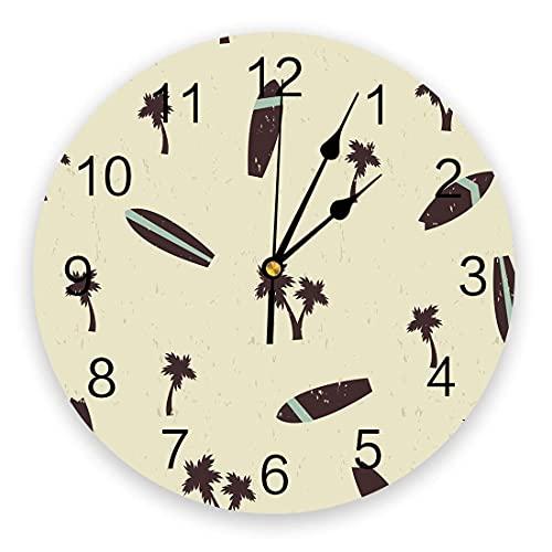 Reloj de pared con tabla de surf de palmera tropical de verano, silencioso, sin tictac, 10 pulgadas, relojes de pared redondos que funcionan con pilas para dormitorio, sala de estar, oficina, escuela,