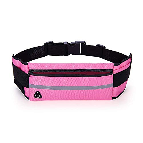 Nuoterm Fanny Pack Waist Bag for Unisex, Travel Waist Pack, Adjustable Belt, Waterproof Waist Pack, Multifunction, Ultra-Thin, Light, Suitable for Phones and Tablets Up 6.5 inches - Rose Red