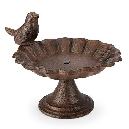 WILDLIFE FRIEND I Vogeltränke stehend, Vogeltränke Garten und Balkon - mit Standfuß I Wassertränke für Vögel, Vogelbad frostsicher aus Gusseisen - Wasserschale mit Vögelchen