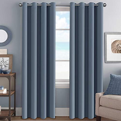 """H.Versailtex Elegant Grommet Blackout Thermal Insualted Solid Curtains / Drapes,Window Treatment Panels (Set of 2, Stone Blue, 52"""" W x 96"""" L)"""