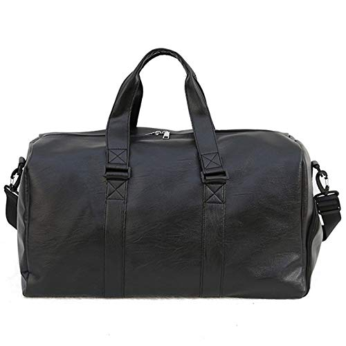 Gyubay Travel Duffel Bag Weekend Travel Large Capacity Men's Handbag Pu Leather Travel Tote Bag for Traveling Business Trip (Color : Black, Size : 44x33x17cm)