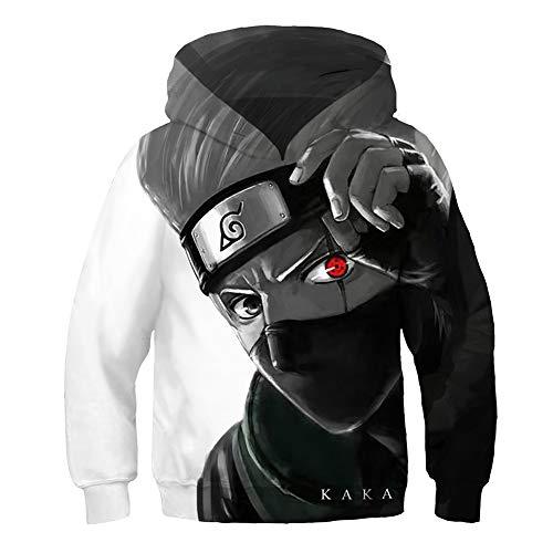 BEDJIMI Kids 3D Printed Anime Hoodie Hatake Kakashi Cosplay Pullover Sweatshirt for Child Black