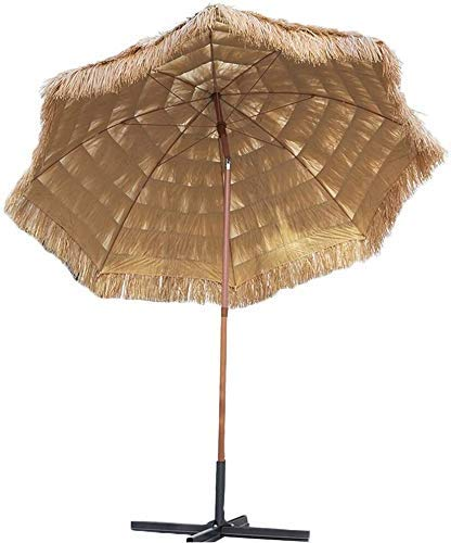 DHTOMC Ruinaier Houswares Sun Parasol Umbrella Garden 2.4M / 7.9 FT Playa Playa Playa Rafia Tropical Umbrella de Paja, Patio Parasol con función de inclinación y manivela Xping