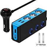 [Upgraded Version] Quick Charge 3.0 Cigarette Lighter Adapter, CHGeek 120W 12V/24V 3-Socket Car Power DC Outlet Splitter with 8.5A 4 USB Charging Ports & LED Voltmeter Power Switch Car Charger