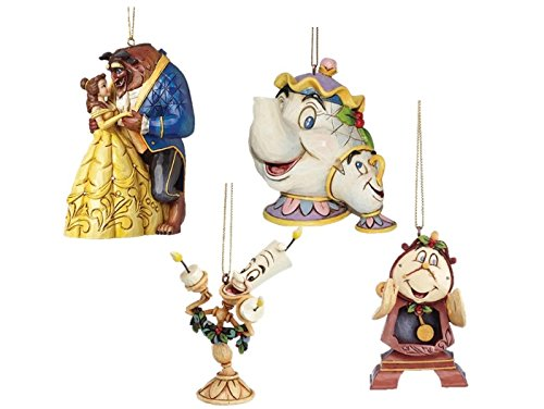 Disney Traditions Beauty &The Beast with Mrs Potts & Chip , Cogsworth & Lumiere Hanging Christmas Tree Decorations