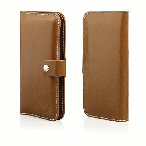 """Preisvergleich Produktbild Bookstyle Handytasche Flip Case Wallet geeignet für """"BQ Aquaris X5 Plus"""" Handy Schutz Hülle Etui Schale Cover Book Case Portemonnaie braun"""