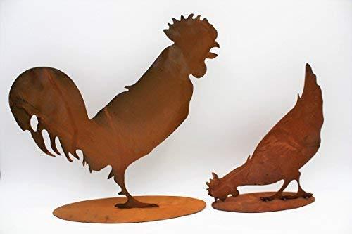 Rostikal | Edelrost Deko Huhn und Hahn im Set | Rost Tierfiguren für Haus und Garten | 40 und 28 cm