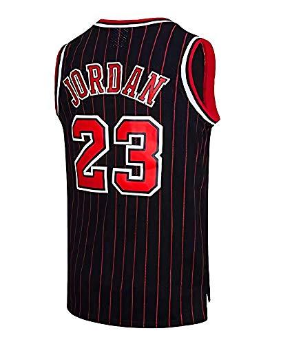 Herren NBA Chicago Bulls Basketball Trikot - Michael Jordan # 23 Retro Basketball Swingman Trikot (Black Strips, XXL)