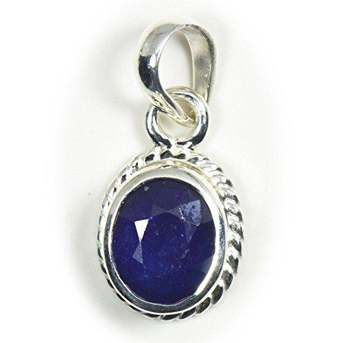 CaratYogi Colgante de zafiro azul natural de 6 quilates con forma ovalada original de Neelam en plata de ley 92,5