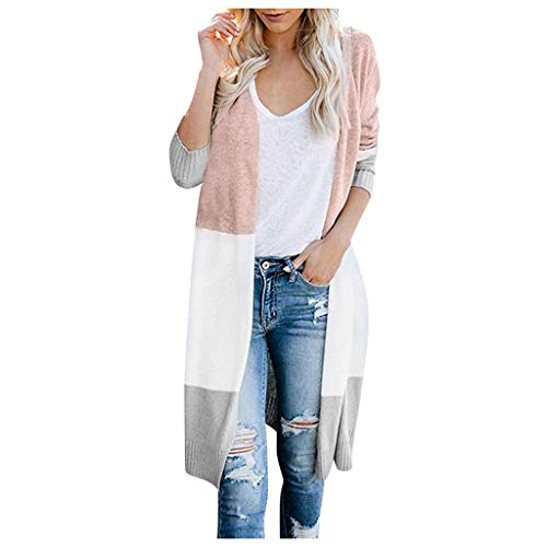 Review Of Tomppy Women Sweaters Cardigan Ladies Open Front Long Sleeve Colorblock Knit Coat Outerwea...