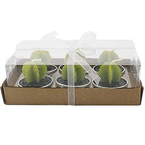 ruikey 6pcs Kaktus Kerzen Creative Künstliche Grün Pflanzen Rauchfreie Kerze für Teelichte Hochzeit Weihnachten Geburtstag Party, Carambola, 1.7inch*1.7inch*1.6inch