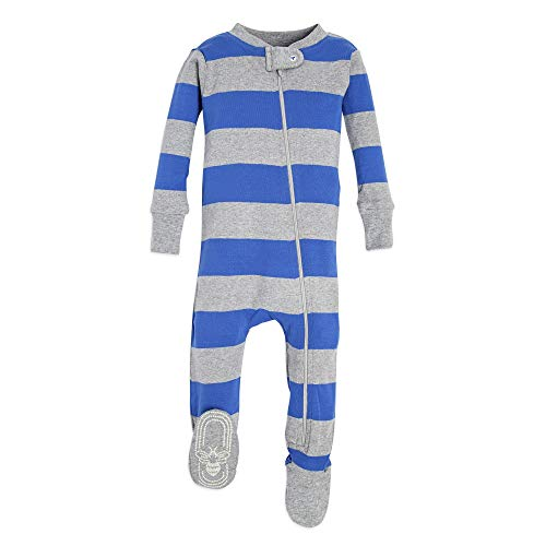 Burt's Bees Baby, Family Jammies, Matching Holiday Pajamas, Organic Cotton PJs, Blue Rugby Stripe, Mens, X-Large