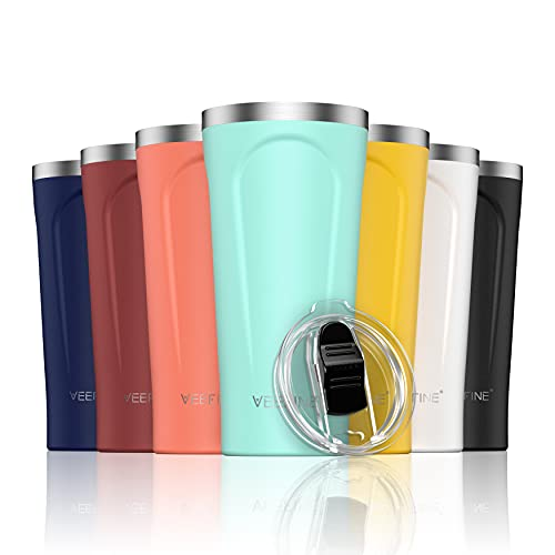 VeeFine Insulated Tumbler 20oz 18/8 Food-Grade Stainless Steel Tumbler with Lid Dishwasher Safe BPA-Free Travel Mug for Iced Coffee Fits Car Cup Holder