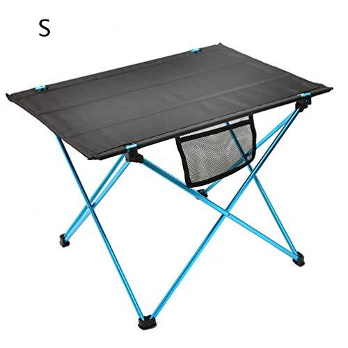 Opvouwbare tafel voor buiten, camping, aluminiumlegering, tafel, Oxford-stof, bovenaan tafel, computerbureau voor een picknick, strand wandelen, reizen, vissen en koken blauw S