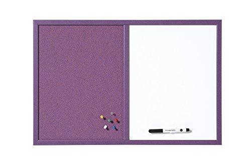 Bi-Office MX03435411 - Tablón organizador para escuela combinado, 60 x 40 cm, color violeta