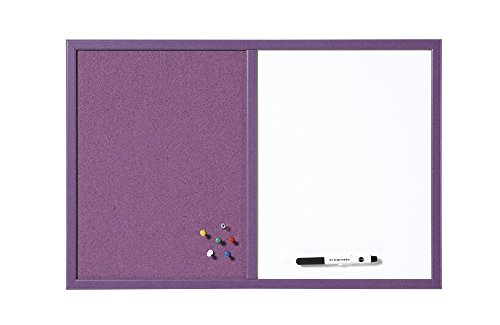 Bi-Office MX03435411 - Tablón organizador para escuela combinado, 60 x 40 cm, color violeta