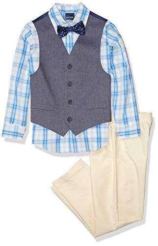 Nautica Boys' Toddler 4-Piece Set with Dress Shirt, Bow Tie, Vest, and Pants, oxford yellow, 4T