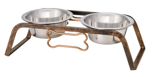 Loving Pets Black Label Collection Rustic Bone Diner for Dogs, 1-Quart, Aged Copper
