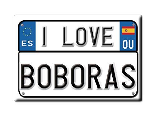 Enjoymagnets BOBORÁS Souvenir IMANES DE Nevera Reino Unido Galicia IMAN Fridge Magnet Corazon I Love (VAR. Targa)