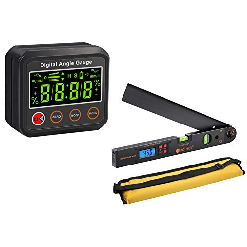 Neoteck Angle Gauge with Audible Buzzer Alerts at Horizontal and Vertical Position + Aluminum Backlit LCD Digital Angle Finder Tool
