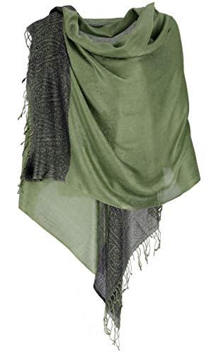 Guru-Shop, Pashmina Viscose Sjaal, Indiase Boho Gestolen met Paisley Patroon, Mosgroen, Size:One Size, 200x70 cm, Sjaals