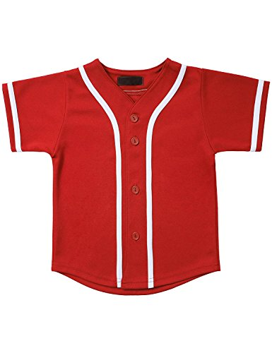 Hat and Beyond Kids Baseball Jersey Button Down T Shirts Hipster Plain Hip Hop Uniforms (03T, 5pu01_Red.WHI)
