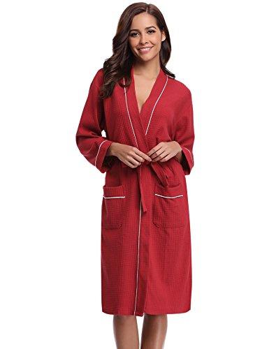 Aibrou Femme Homme Kimono Tissage Gaufré Peignoir de Bain Unisexe Coton Waffle Robe de Chambre col V Pyjama pour l'hôtel Spa Sauna Vêtements de Nuit