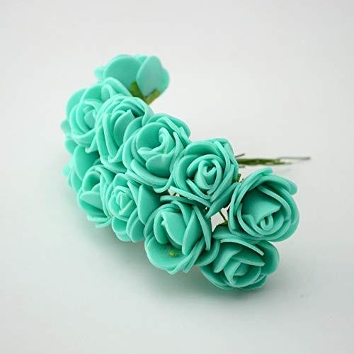 QWERTYU 12 stks/partij Simulatie Mini Rose Kunstmatige bloem schuim bloem diy bloem bal slinger hoofdtooi Bruiloft decoratie Bruidsbloemen LIFUQIANGME