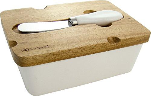 Top Qualité, élégant, Beurrier avec couteau à beurre en porcelaine et fabriqué en bois couvercle